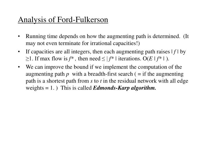 Analysis of Ford-Fulkerson