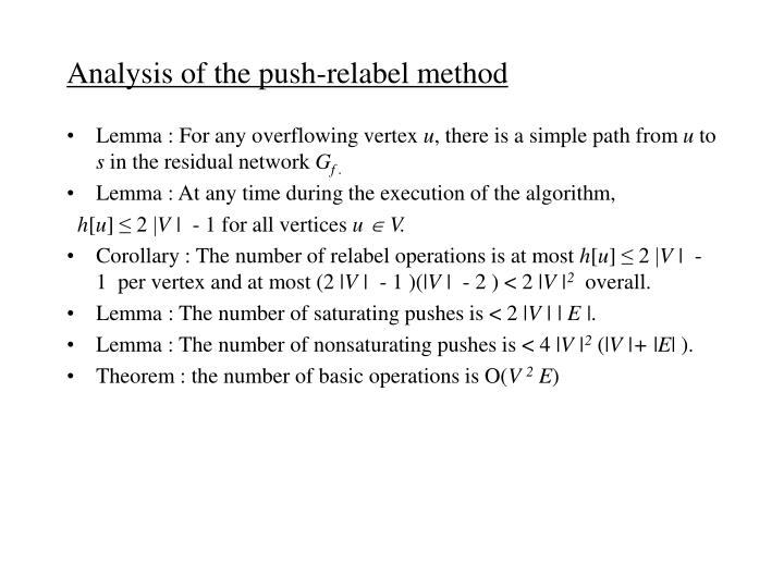 Analysis of the push-relabel method