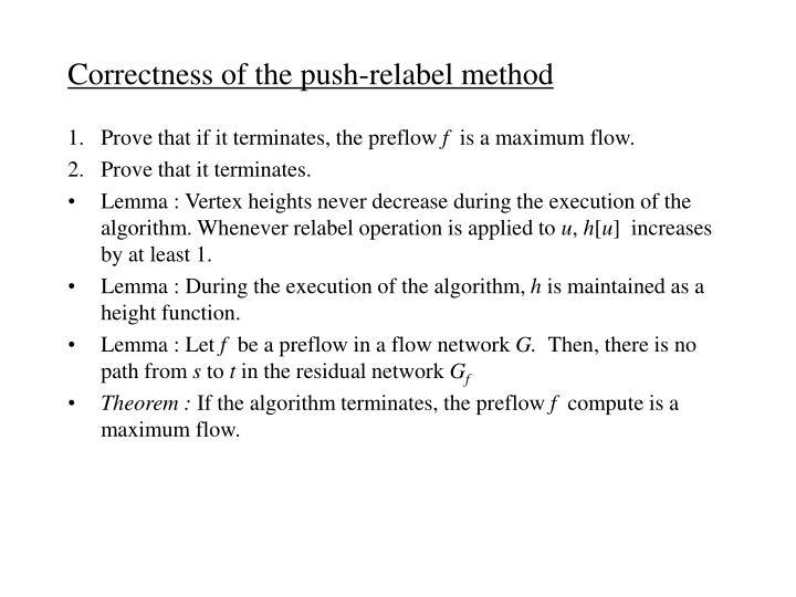 Correctness of the push-relabel method