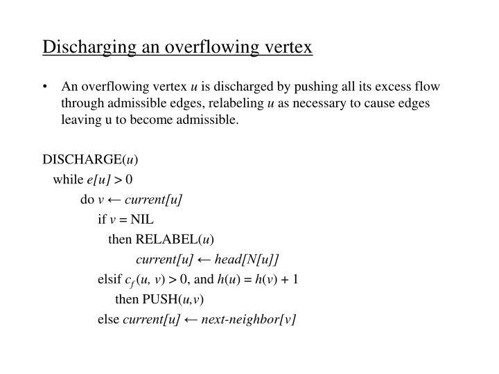 Discharging an overflowing vertex