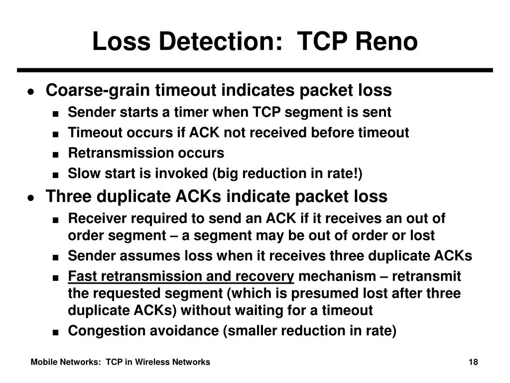 Loss Detection:  TCP Reno