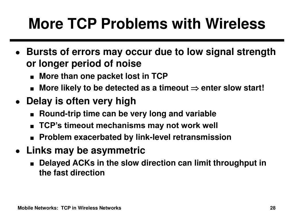 More TCP Problems with Wireless