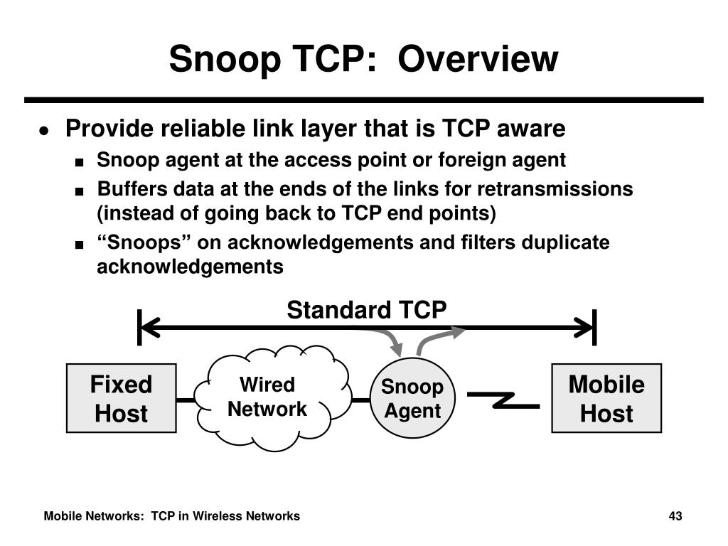 Snoop TCP:  Overview