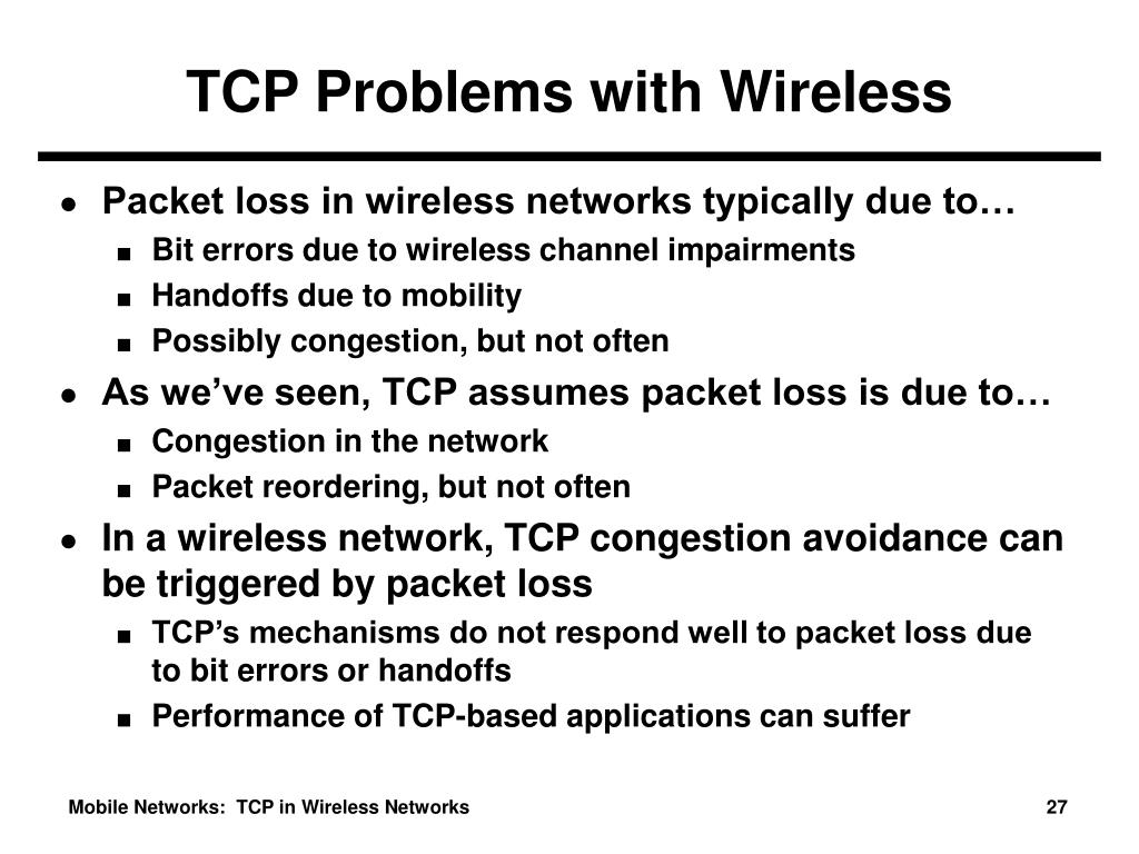 TCP Problems with Wireless