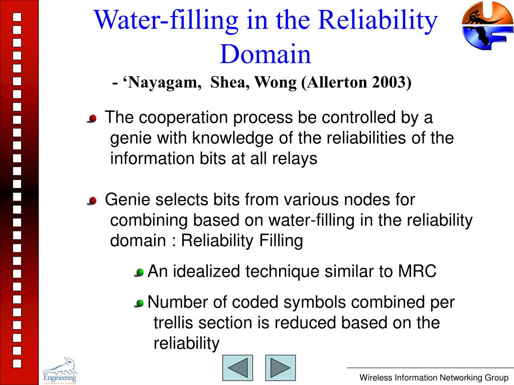 Water-filling in the Reliability