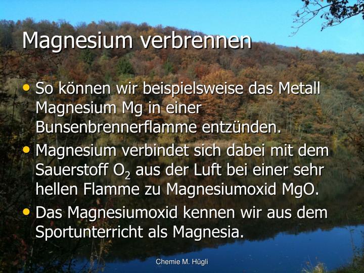 Magnesium verbrennen