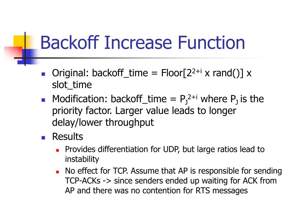 Backoff Increase Function