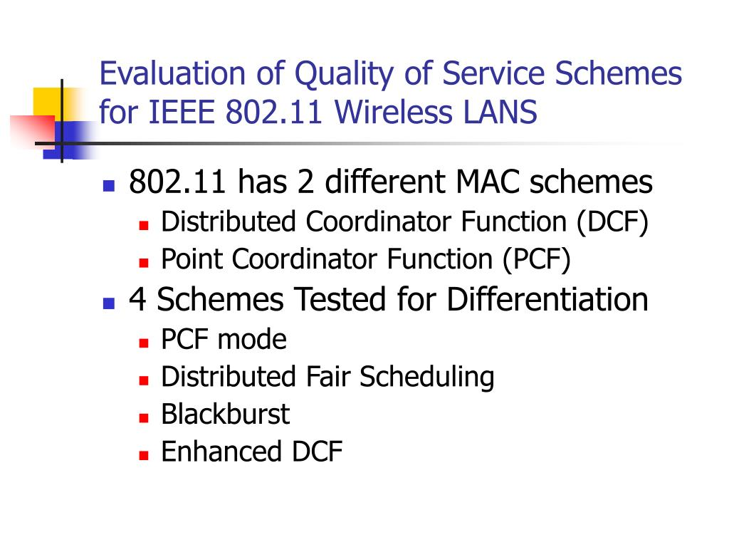 Evaluation of Quality of Service Schemes for IEEE 802.11 Wireless LANS