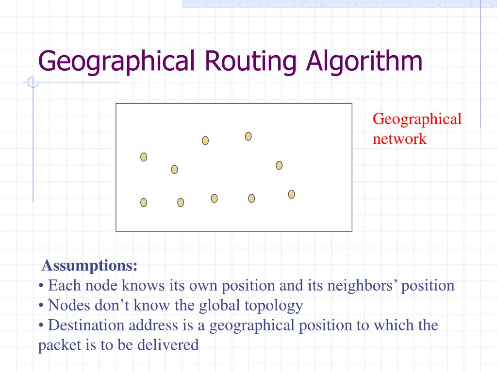Geographical Routing Algorithm