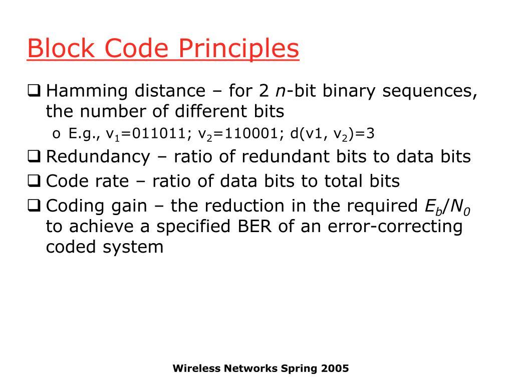 Block Code Principles