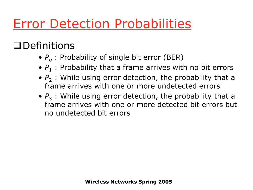 Error Detection Probabilities