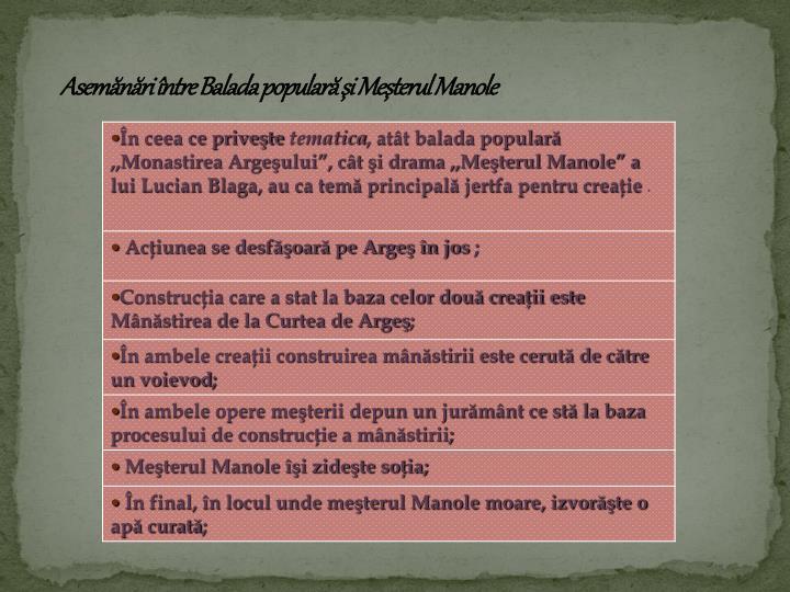Asemănări între Balada populară şi Meşterul Manole