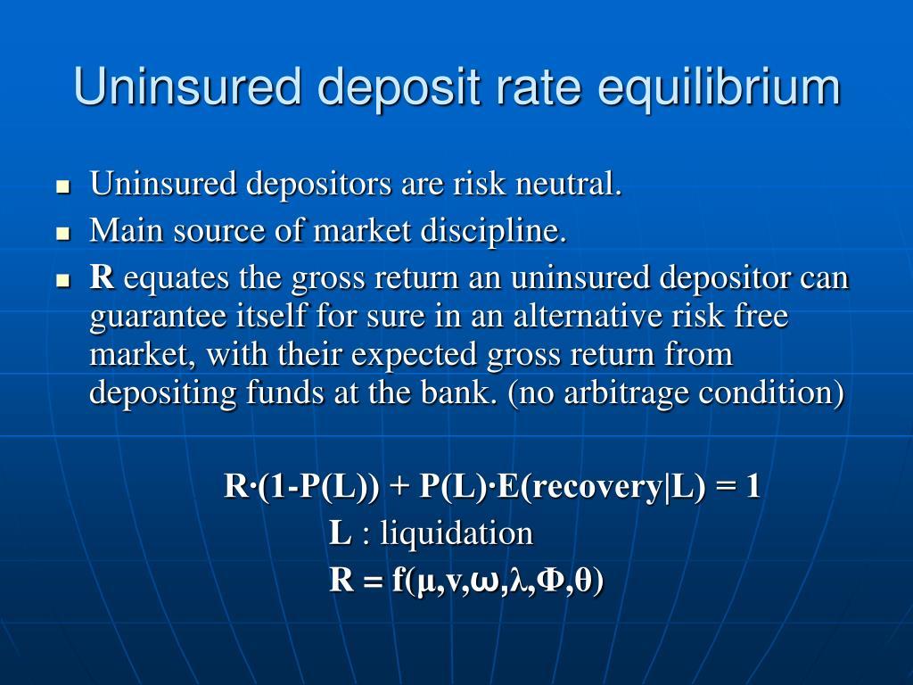 Uninsured deposit rate equilibrium