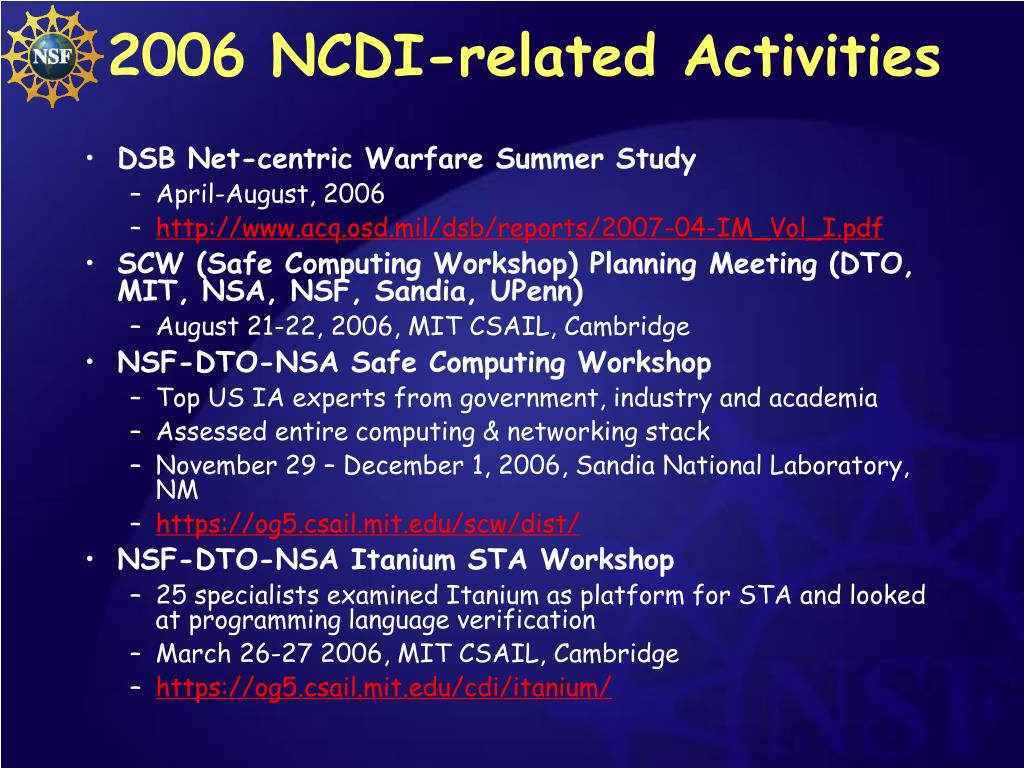 2006 NCDI-related Activities