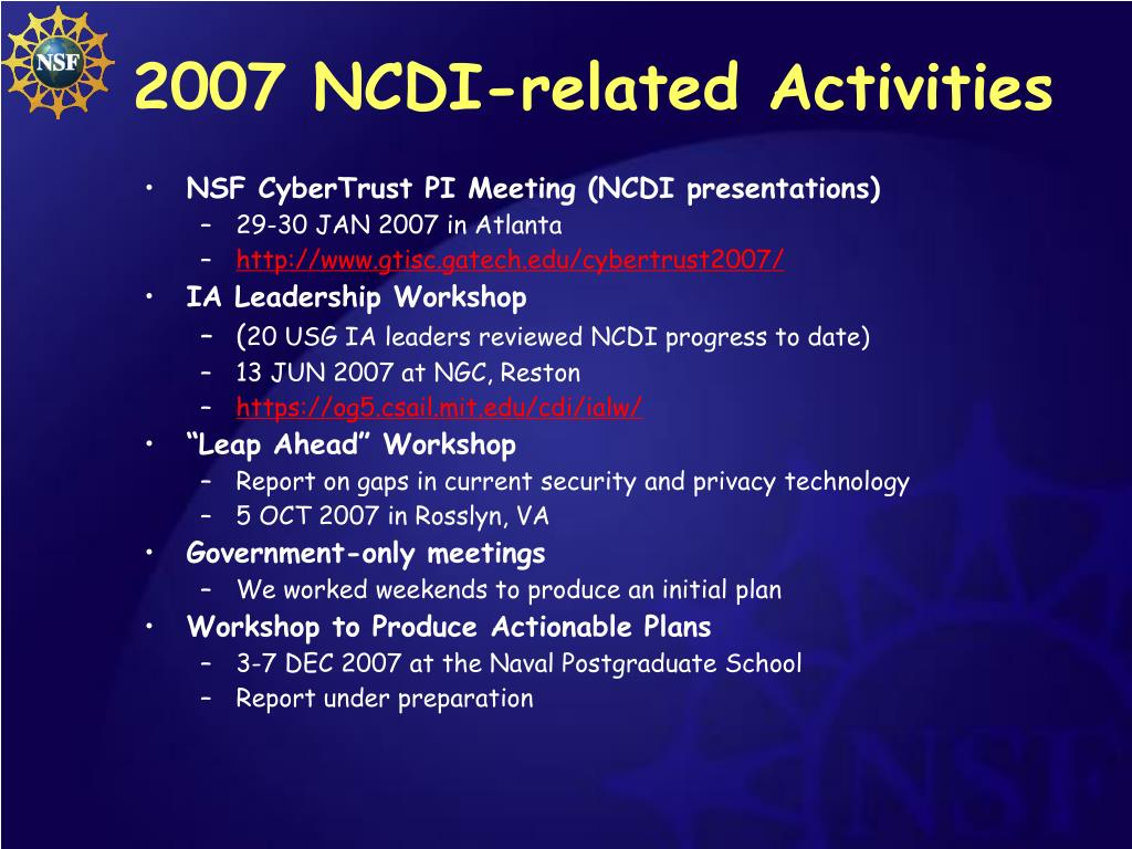 2007 NCDI-related Activities