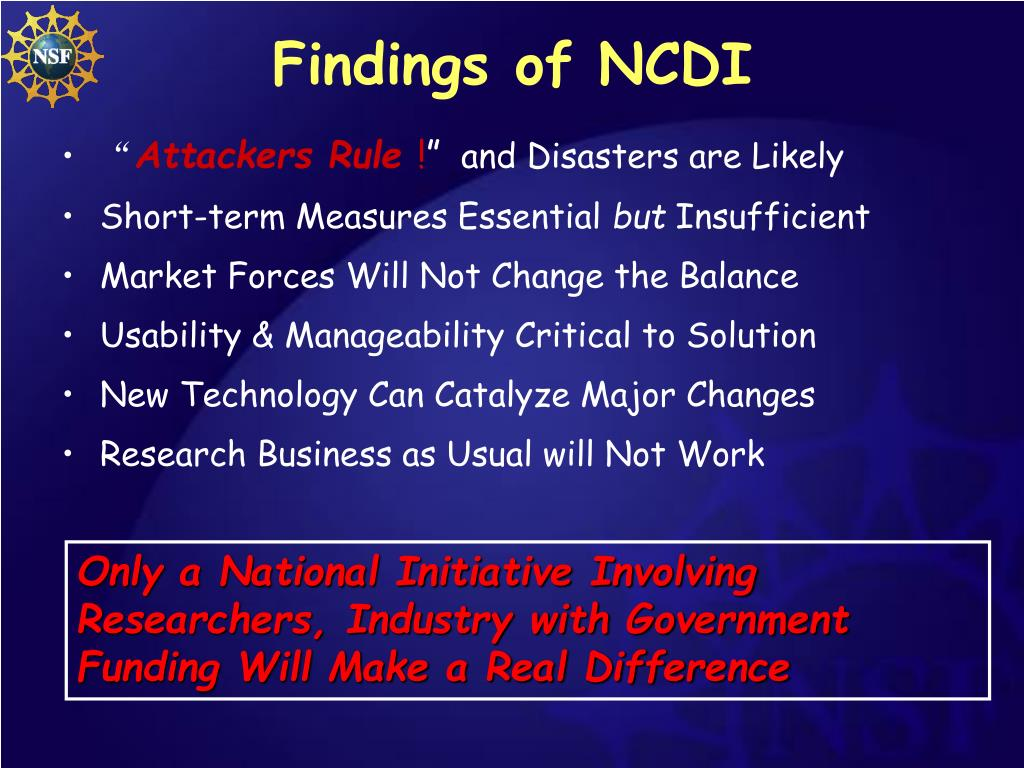 Findings of NCDI