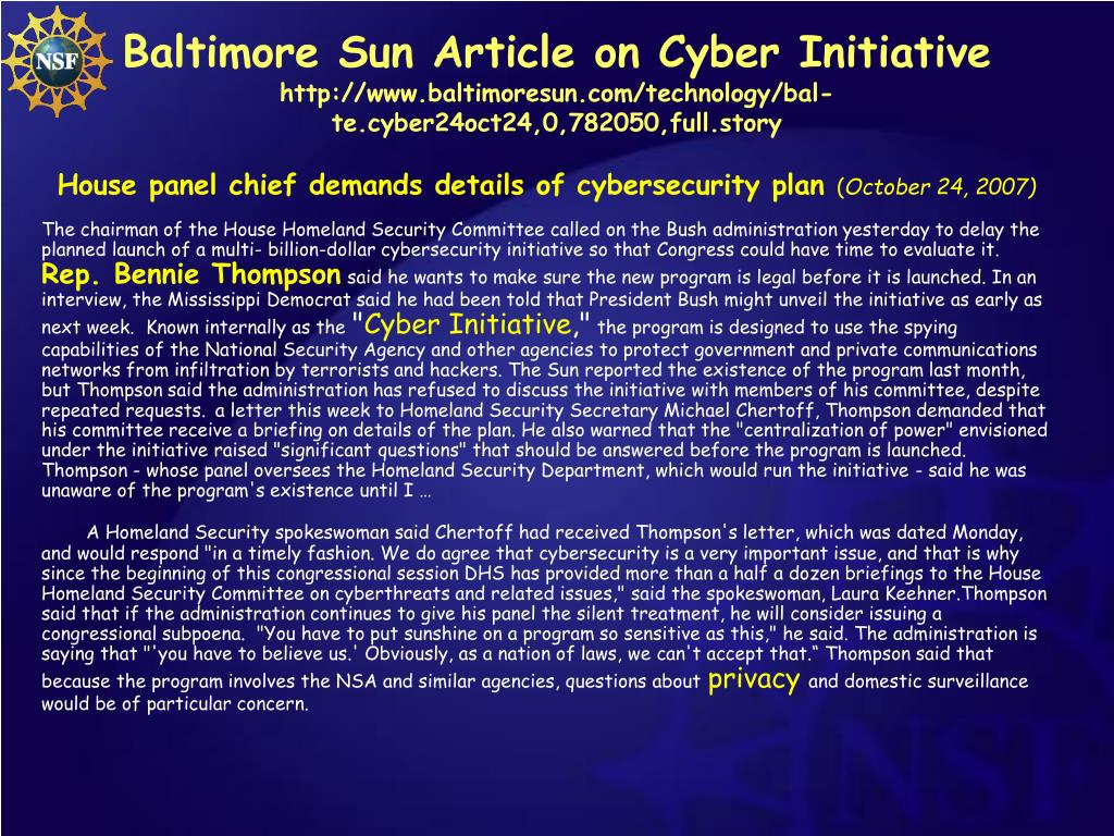 Baltimore Sun Article on Cyber Initiative