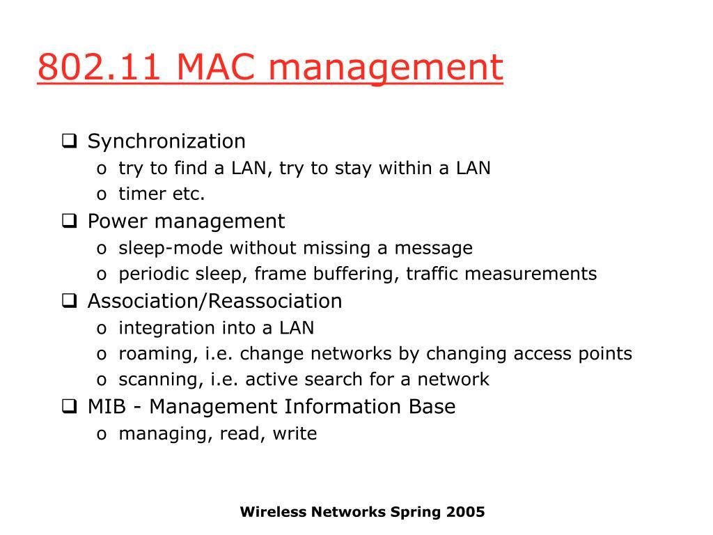 802.11 MAC management