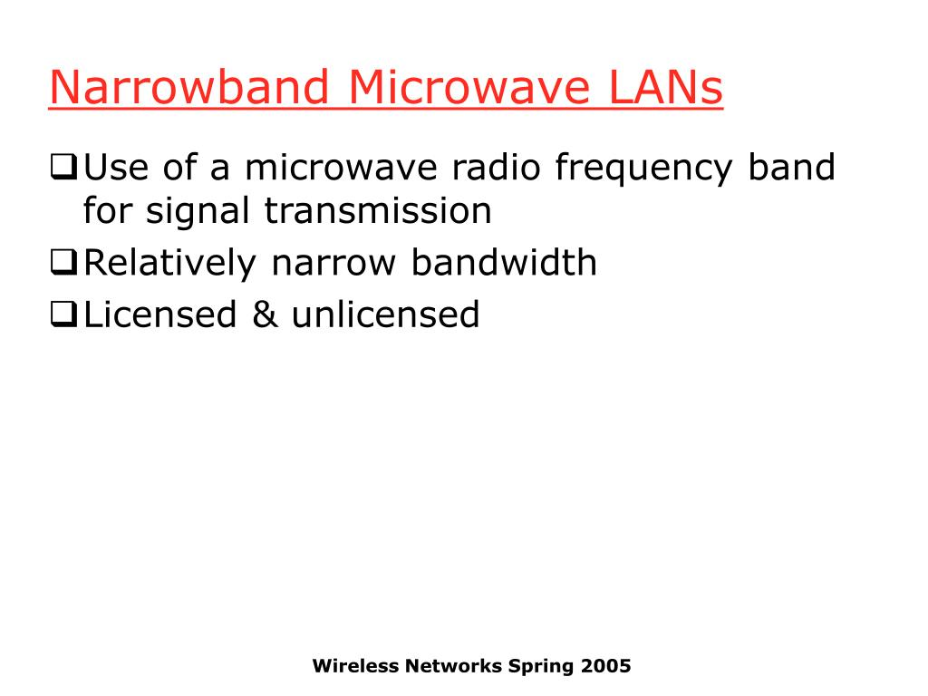 Narrowband Microwave LANs