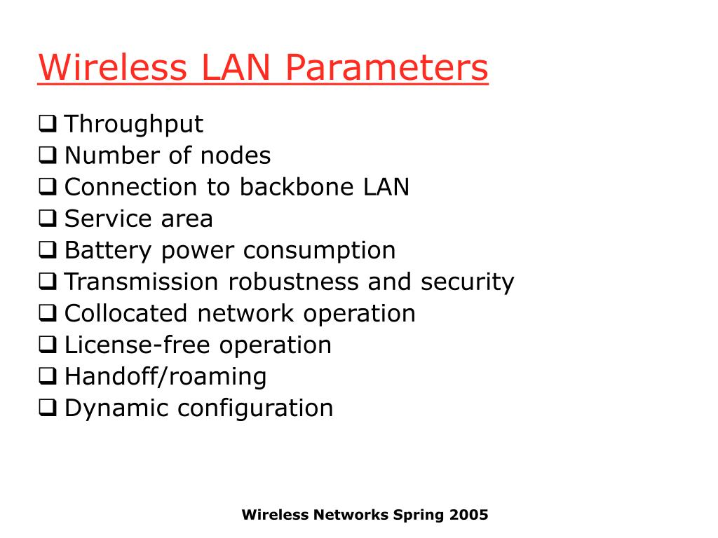 Wireless LAN Parameters