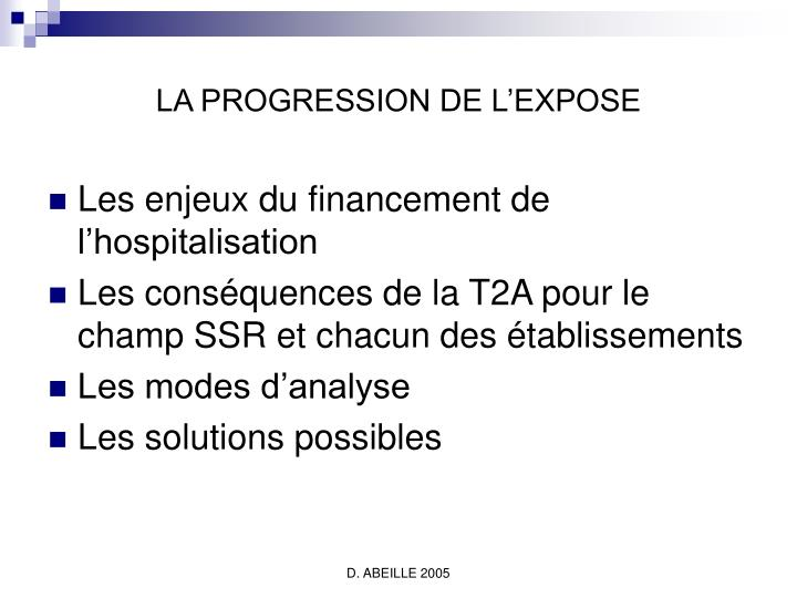 LA PROGRESSION DE L'EXPOSE