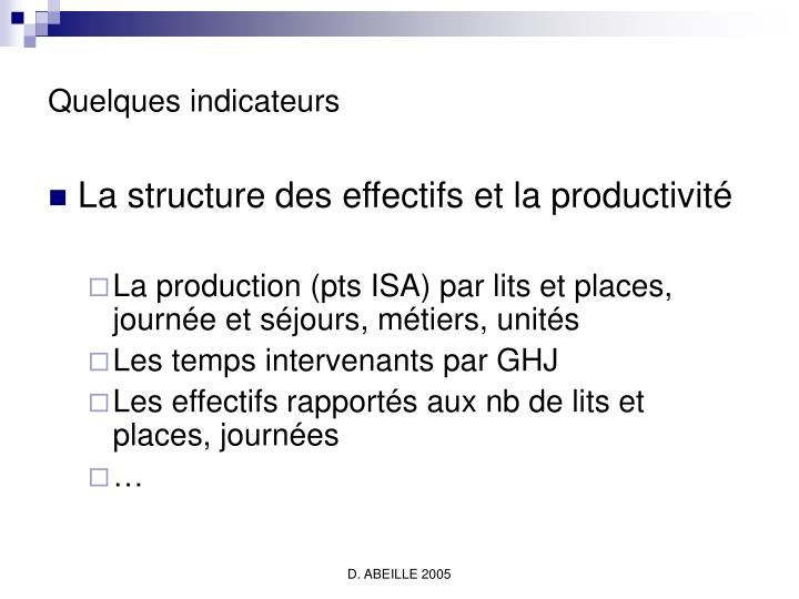Quelques indicateurs