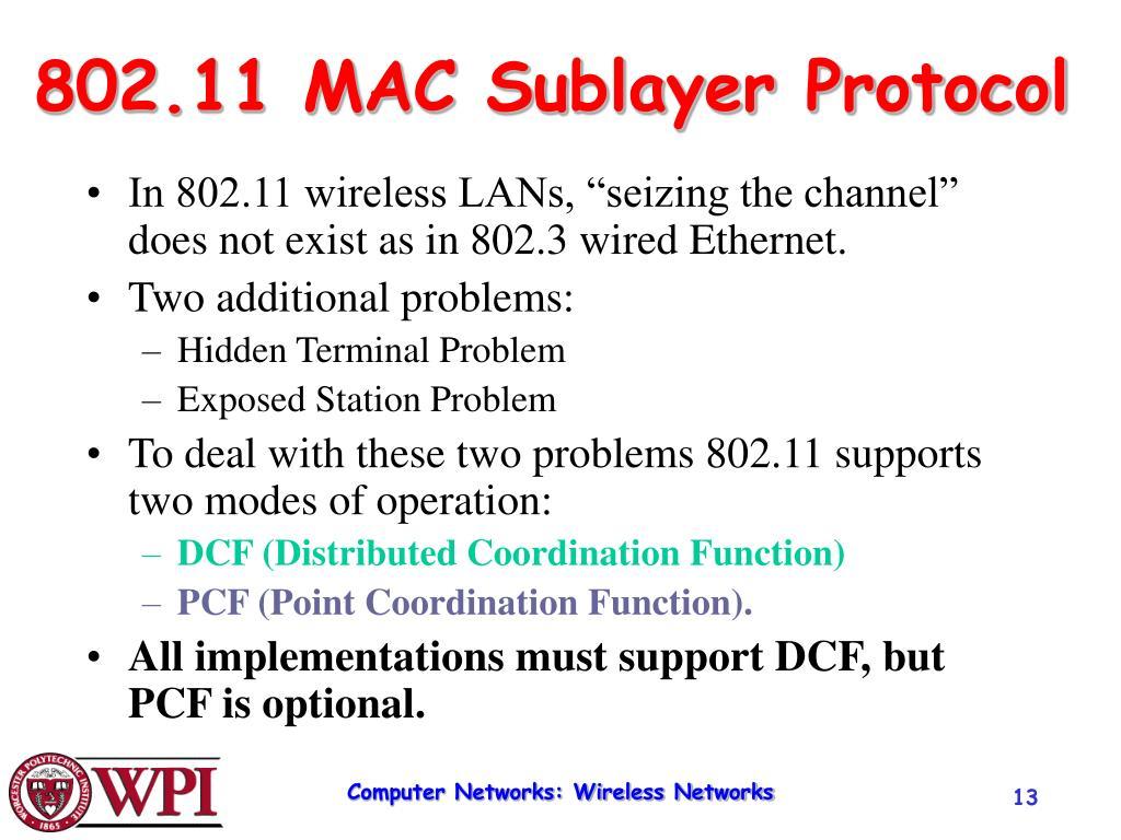 802.11 MAC Sublayer Protocol