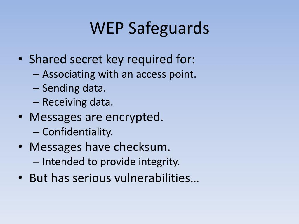 WEP Safeguards