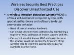 wireless security best practices discover unauthorized use
