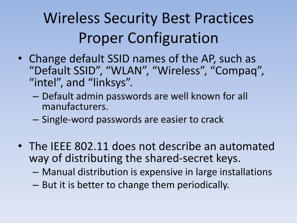 Wireless Security Best Practices
