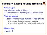 summary letting routing handle it