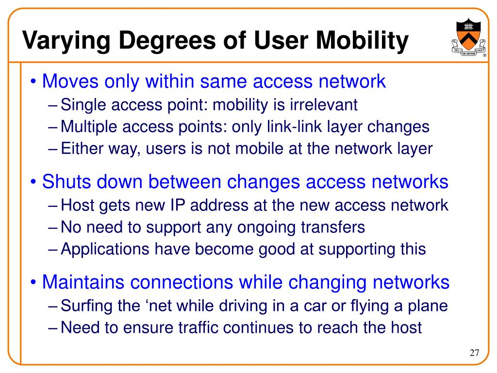 Varying Degrees of User Mobility