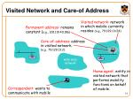 visited network and care of address