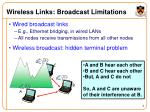 wireless links broadcast limitations