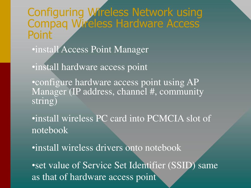Configuring Wireless Network using Compaq Wireless Hardware Access Point