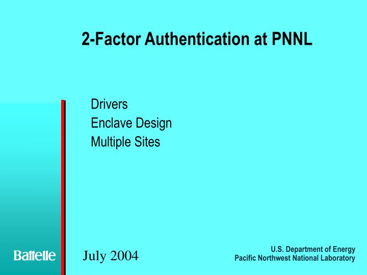 2 factor authentication at pnnl