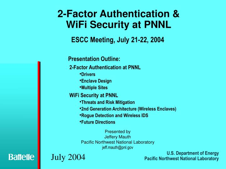 2 factor authentication wifi security at pnnl