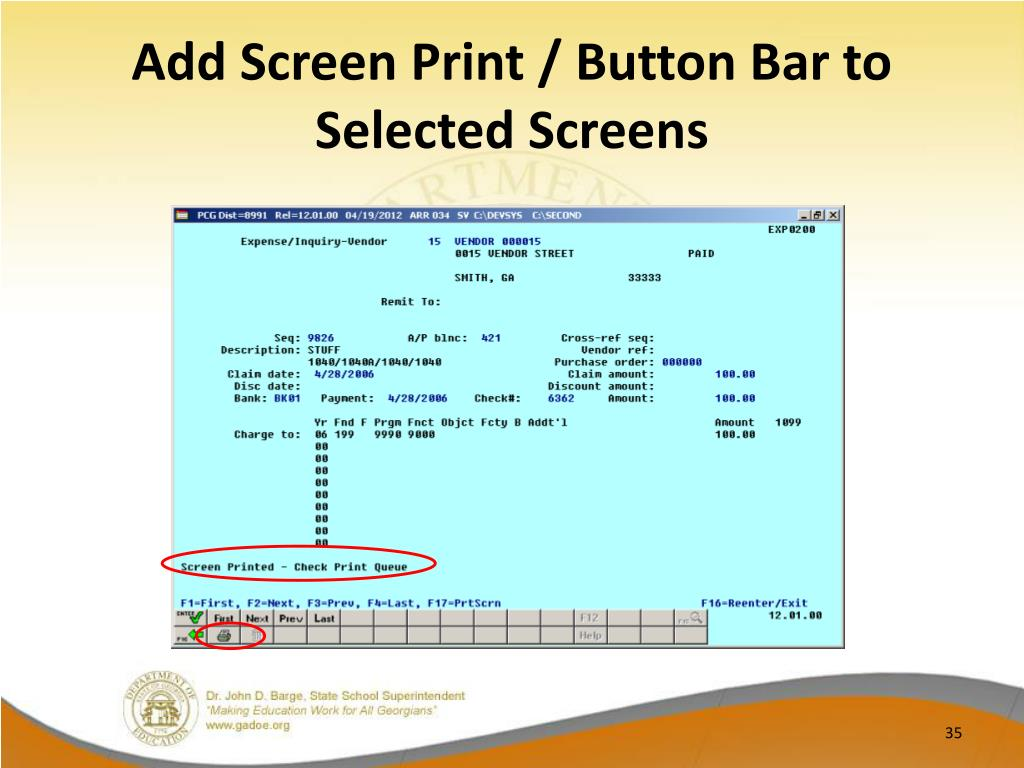 Add Screen Print / Button Bar to Selected Screens