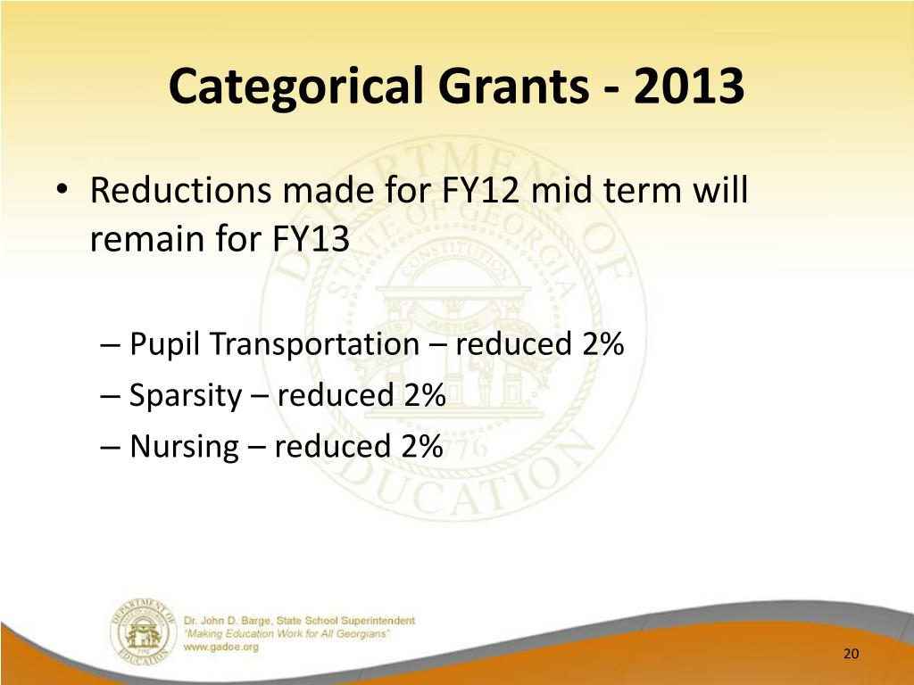 Categorical Grants - 2013