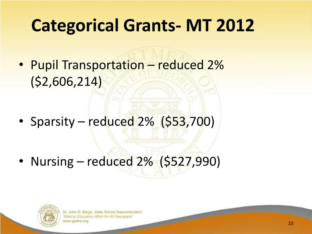 Categorical Grants- MT 2012
