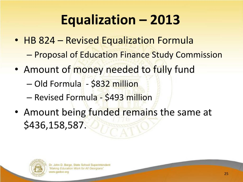Equalization – 2013