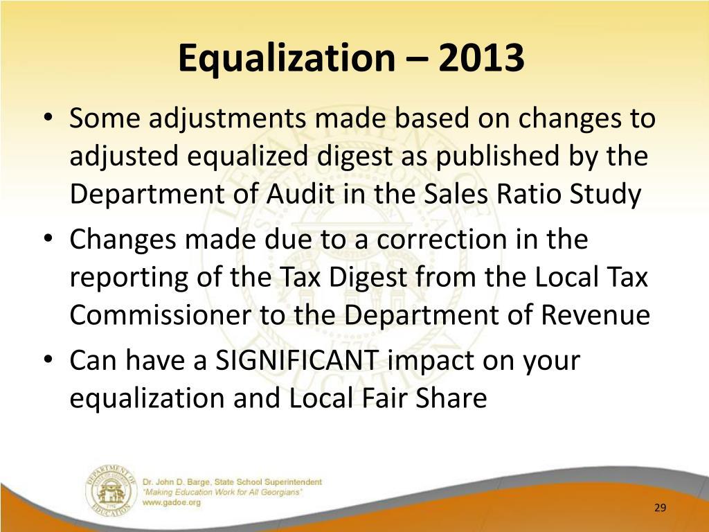 Equalization – 2013