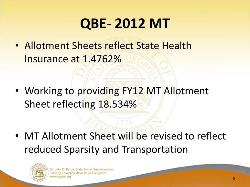 QBE- 2012 MT