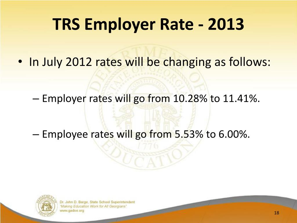 TRS Employer Rate - 2013