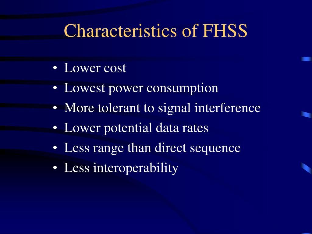 Characteristics of FHSS
