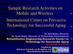 international center on pervasive technology for successful aging