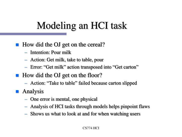 Modeling an HCI task