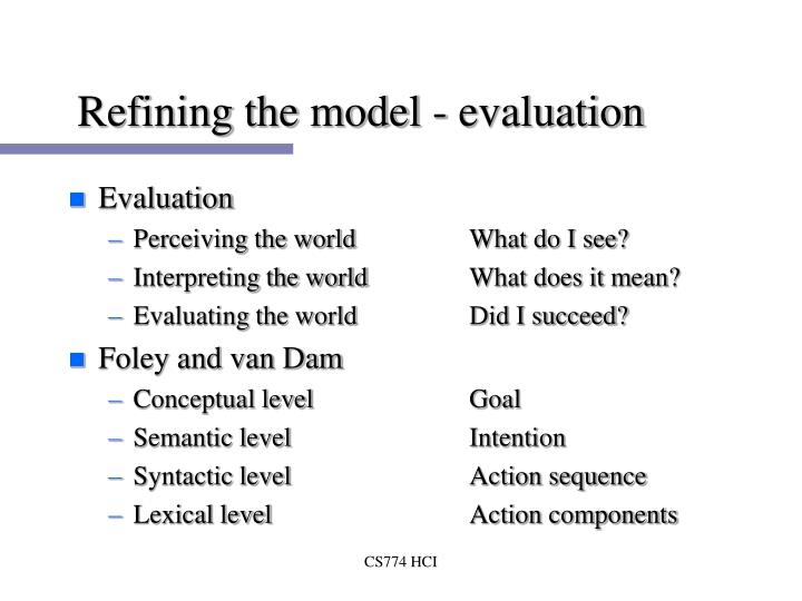Refining the model - evaluation