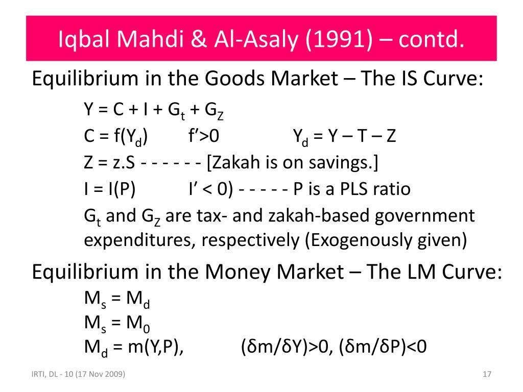 Iqbal Mahdi & Al-Asaly (1991) – contd.