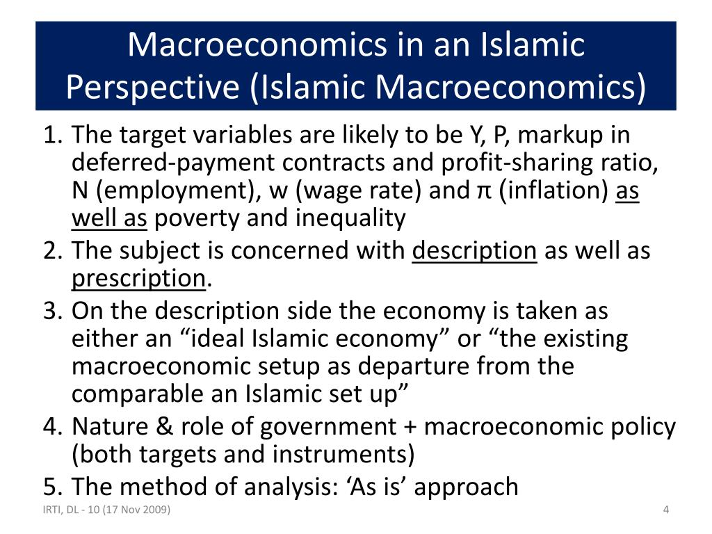 Macroeconomics in an Islamic Perspective (Islamic Macroeconomics)